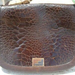 Vtg Rare 60s Alligator Fendi Brown Lambskin Bag
